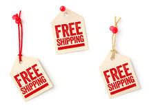 Tags with the text Free shipping. Collection of tags with the text Free shipping Stock Photos