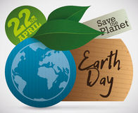 Tags und Blätter Eco für Tag der Erde-Feier, Vektor-Illustration Stockfotografie