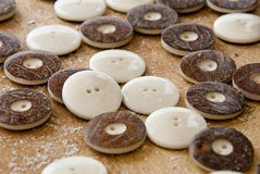 Tagua Nut Buttons For Clothing. Handmade Tagua Nut Buttons Natural White With Bark - Vegetable Ivory Buttons - Animal Friendly Accessories - South America Royalty Free Stock Photography