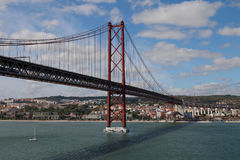 Tagus Bridge. Suspension Bridge over the River Tagus, Lisbon, Portugal Stock Photos