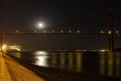 Tagus-Fluss bis zum Night Lizenzfreie Stockbilder
