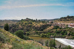 The Tagus rive. R, the view from the bridge of St. Martin in Toledo, Spain. May 2006 Royalty Free Stock Photo