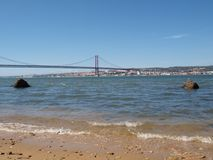 Tagus river and the 25th April bridge Stock Photography