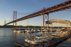 The Tagus River Bridge at Dawn Stock Photos
