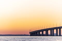 Tagus river and bridge at sunrise.  Stock Photography