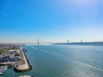 Tagus River and the bridge royalty free stock image