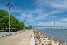 Tagus river and Vasco da Gama bridge in Lisbon Royalty Free Stock Photo