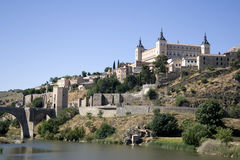 Tagus river flows under the Alcazar. Toledo was declared a World Heritage Site - Spain Royalty Free Stock Image