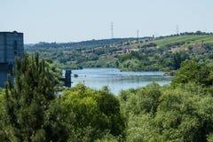 Tagus River i Mouriscas, Ribatejo landskap, Portugal Arkivbilder