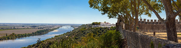 The Tagus River (Rio Tejo), the largest of the Iberian Peninsula, and the Leziria landscape seen from castle walls Royalty Free Stock Image