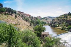 The Tagus river. The view from the bridge of St. Martin in Toledo, Spain. May 2006 Royalty Free Stock Photo