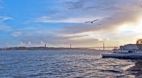 Tagus rzeka w wieczór, Lisbon Zdjęcie Royalty Free