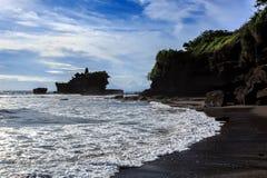 Tahah Lot Temple and ocean waves, Bali Royalty Free Stock Image