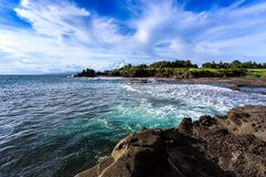 Tahah Lot Temple and ocean waves, Bali Royalty Free Stock Photos