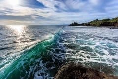 Tahah Lot Temple and ocean waves, Bali Stock Photos