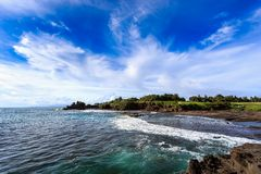 Tahah Lot Temple and ocean waves, Bali Royalty Free Stock Photography