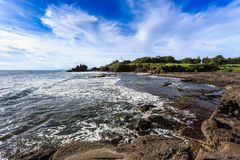 Tahah Lot Temple and ocean waves, Bali Royalty Free Stock Images