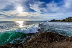 Tahah Lot Temple and ocean waves, Bali Stock Image