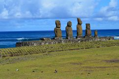 Moais at Ahu Tahai ceremonial complex near Hanga Roa, Rapa Nui Easter Island. The Tahai Ceremonial Complex is an archaeological site on Rapa Nui Easter Island Stock Image