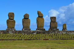 Moais at Ahu Tahai ceremonial complex near Hanga Roa, Rapa Nui Easter Island. The Tahai Ceremonial Complex is an archaeological site on Rapa Nui Easter Island Stock Photo