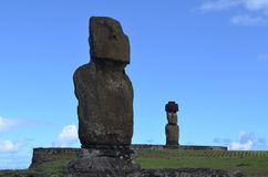 Moais at Ahu Tahai ceremonial complex near Hanga Roa, Rapa Nui Easter Island. The Tahai Ceremonial Complex is an archaeological site on Rapa Nui Easter Island Royalty Free Stock Photo