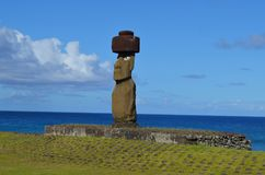 Moais at Ahu Tahai ceremonial complex near Hanga Roa, Rapa Nui Easter Island. The Tahai Ceremonial Complex is an archaeological site on Rapa Nui Easter Island Royalty Free Stock Photos