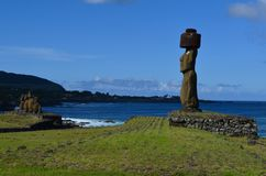 Moais at Ahu Tahai ceremonial complex near Hanga Roa, Rapa Nui Easter Island royalty free stock image