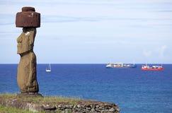 Tahai Ceremonialny kompleks przy Wielkanocną wyspą, Chile Zdjęcia Stock