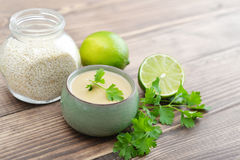 Tahini made from sesame seeds Royalty Free Stock Image