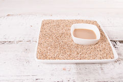 Tahini, sesame paste. healthy food and drink Royalty Free Stock Image