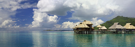 Tahiti. Panoramic Lagoon. Tahiti. Over-water bungalow Royalty Free Stock Photos