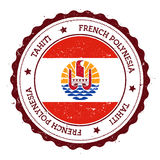 Tahiti flag badge. Vintage travel stamp with circular text, stars and island flag inside it. Vector illustration Royalty Free Stock Photos