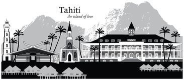 Tahiti, French Polynesia. Vector illustration of the skyline cityscape of Papeete, island of Tahiti, French Polynesia Royalty Free Stock Image