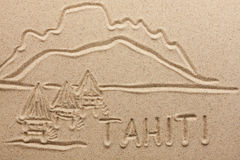 Tahiti handwritten from  sand Stock Photography