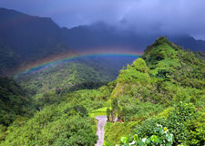 Tahiti. Mountain and rainbow Stock Photo