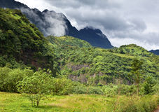 Tahiti. Polynesia. Clouds over a mountain landscape Stock Image