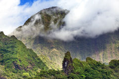 Tahiti. Polynesia. Clouds over a mountain landscape. Tahiti. Polynesia. Clouds over  mountain landscape Stock Image