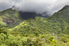 Tahiti. Polynesia. Clouds over a mountain landscape. Royalty Free Stock Image