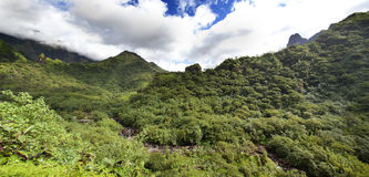 Tahiti. Polynesia. Clouds over a mountain landscape. Panorama Stock Photo