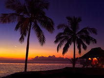 Tahiti Resort. A sunset in the French Polynesia islands Stock Image