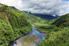 Tahiti.Tropical-natur- och bergflod mot den molniga himlen Royaltyfri Foto