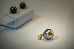 Tahitian black pearls on display Royalty Free Stock Image