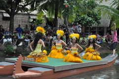 Tahitian dance at a canoe pageant Royalty Free Stock Images
