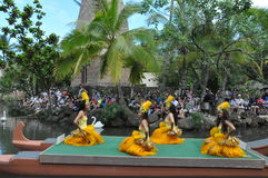 Tahitian dance at a canoe pageant Stock Photos
