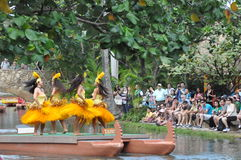Tahitian dance at a canoe pageant Stock Images