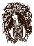 Tahitian flicka stock illustrationer