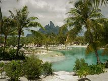 Tahitian Resort lagoon with Mt Otemanu in background Bora bOra royalty free stock image