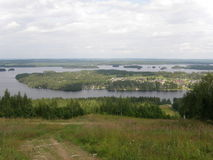 Tahko, the lake region of Finland, in summer. Tahko ski resort in the lake region of Finland, view from a hill in summer Stock Photography