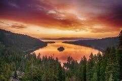 在Tahoe湖的日出 库存图片