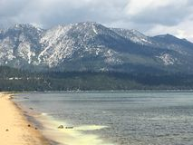 Tahoe mountains. Snowy mountain tops stock photo